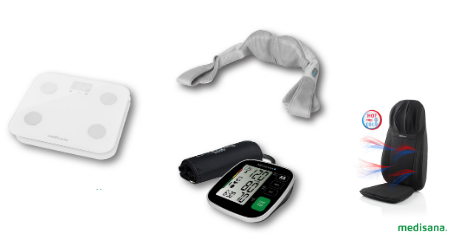 Shiatsu massage, bloeddrukmeter of weegschaal van Medisana