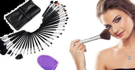 Set de 32 pinceaux de maquillage + brosse nettoyante