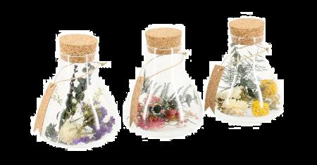 Set van 3 decoratieve glazen flesjes met gedroogde bloemen