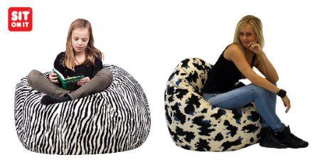 Un pouf « Sit On It » en imprimé animal